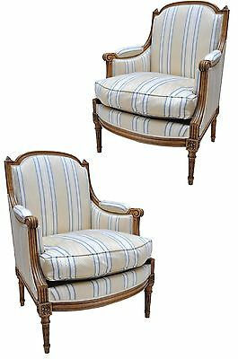 Pair French Louis Xvi Antique Bergeres Lounge Chairs Spriped Up Walnut Armchairs