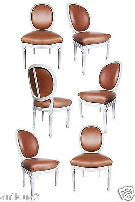 Set 6 French Crvd Louis Xvi Style Painted Fauteuils Leather Side Dining Chairs
