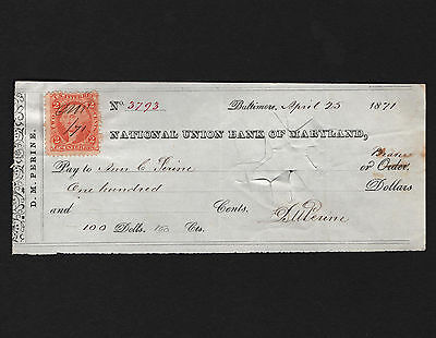 OPC 1871 Baltimore D M Perine National Union Bank of Maryland $100 Check