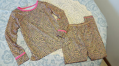 NEW  Cuddl Duds Girl's Leopard Print Base Layer 2 Pc  Crew Top & Pant Sz.4T