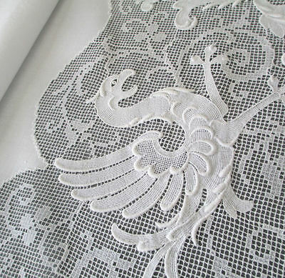"""Antique Italian LINEN Runner GUIPURE Embroidery GRIFFINS Scrolls CROWNS 48""""X28"""""""