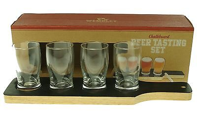 WEMBLEY NEW Black Chalkboard Serving Board 5oz. Beer Tasting Set $50 #195