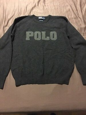 Vintage Polo Ralph Lauren Spell out Wool M 92 Bear
