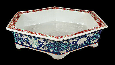 Antique Chinese Blue Famille Verte Enameled Porcelain Six-Sided Footed Low Bowl