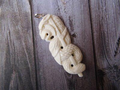 Pendant Necklace China Dragon from Buffalo Bone Carved with Silver Bail 925_x70