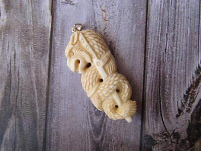 Pendant Necklace China Dragon from Buffalo Bone Carved with Silver Bail 925_x181