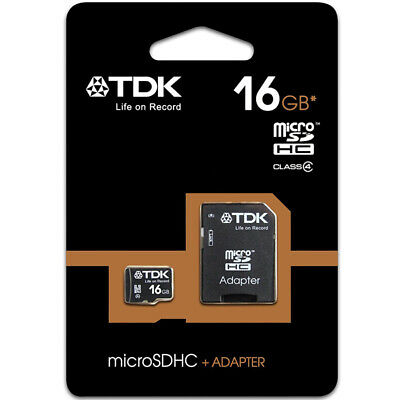 TDK 16GB Micro SD SDHC Memory Card  TF + Adapter 30MB/s For Mobile Phones New