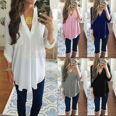 Women Fall V Neck Loose Basic Long Sleeve Casual Irregular Blouse Tops T Shirt