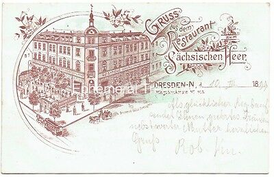 Gruss Aus Dresden, Germany advertising resteraunt - Superb 1899 Postcard.