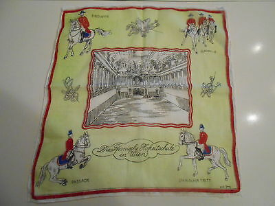 Spanish Riding School Handkerchief Vienna Souvenir Lipizzan Horses German   5476