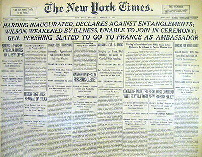 BEST 1921 NY Times hdlne newspaper WARREN G HARDING INAUGURATED as US PRESIDENT