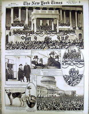 1921 NY Times w poster-like display INAUGURATION of PRESIDENT WARREN G HARDING