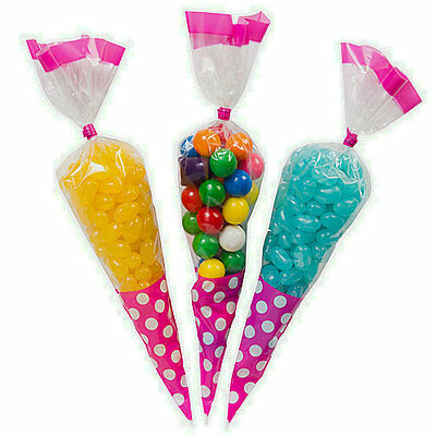 50pcs Empty Cone Cello Kids Sweet Candy Treat Display Favor Gift Party Bags