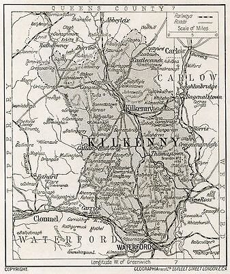 1923 map of Ireland: County Kilkenny antique ready-mounted print SUPERB