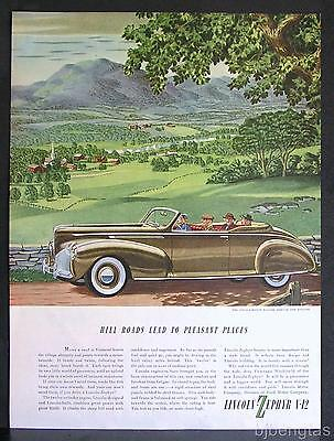 1940 Brown Lincoln-Zephyr 2-Door Convertible New England Rolling Hills Print Ad