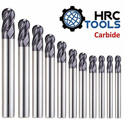 HRC R0.5mm -R12.5mm Solid Carbide 4 Flutes Ball Nose End Mill 55HRC TiAlN Coated