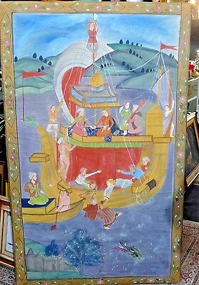"Antique 19th Century Indian Painting on Fabric Cloth Pichwai 65"" Boat Sea India"
