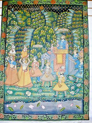 "Antique Indian Pichwai Painting on Fabric Cloth 46"" Mughal India Elephant Maiden"