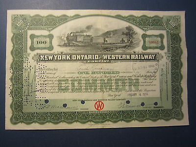 Old 1934 - New York - Ontrario and Western RAILWAY Co. - Stock Certificate