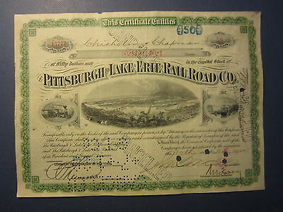 Old 1927 - Pittsburgh and Lake Erie RAILROAD - Stock Certificate