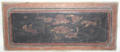 Chinese Late Qing 19th Century Hand Painted Floral Design Lacquer Wood Panel