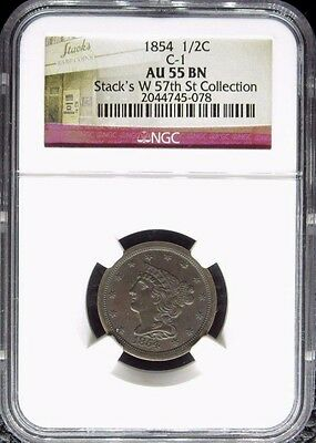 1854 Braided Hair Half Cent C-1 Ngc Certified Au 55 Bn About Uncirculated (078)