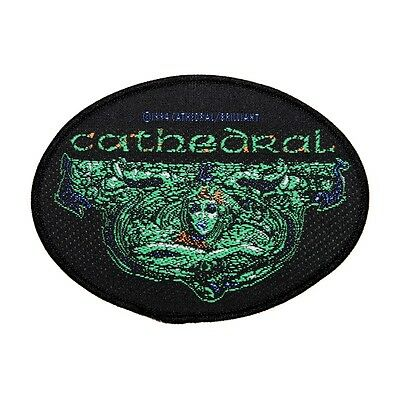 """""""Cathedral"""" Oval Band Name & Art Doom Metal Music Woven Sew On Applique Patch"""
