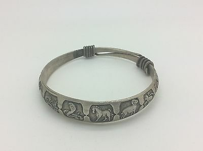 Antique Chinese Export Silver Bangle Bracelet Year Of 12 Animals Adjustable