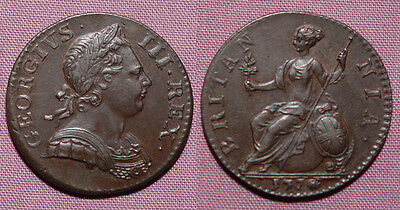 1770 KING GEORGE III COPPER HALFPENNY - Top Grade Coin