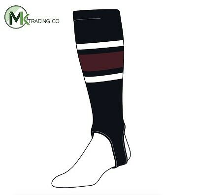 "TCK® X-Large, 700E, 4"" - Black–White–Maroon - MLB® Baseball Stirrups"