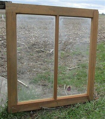 Old Wood Window Frame 2 Glass Panes Rustic Shabby Chic Cottage 24 x 21 a3