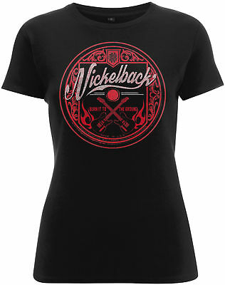 NICKELBACK Pink Logo Circle Burn It To The Ground WOMENS GIRLIE T-SHIRT OFFICIAL