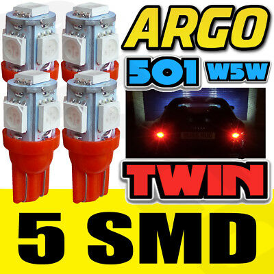 X4 T10 5 Smd Led Hid Super Large Sidelights Xenon Red Ultra Bright