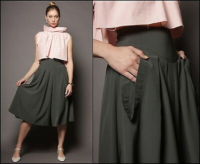 vtg 80s italy UMBERTO GINOCCHIETTI folded pleats WOOL high waist culottes pants