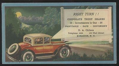 Postcard Size INK BLOTTER  E.A. Chilson Investments Promo Ad 1920's