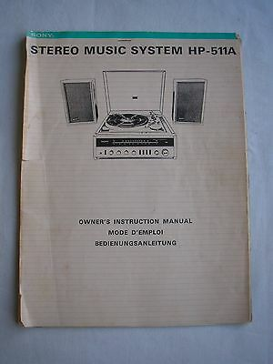 SONY HP-511A stereo record player manual original