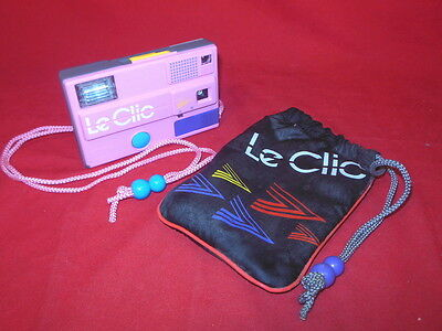 1J 1980's Retro LE CLIC Disc Camera And Carrying Bag PINK Valley Girl Version!