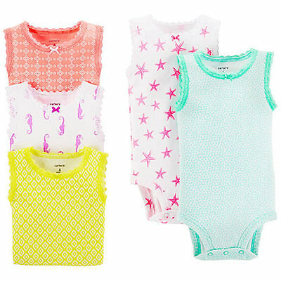Carter's Baby Girl's Tank Bodysuits 5-Pack in Assorted Colors - 3 Months