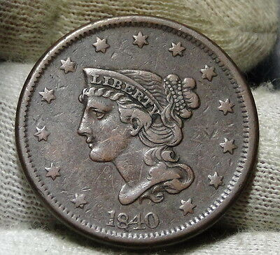 1840 Large Cent, Braided Hair Penny - Nice Coin Free Shipping (5926)