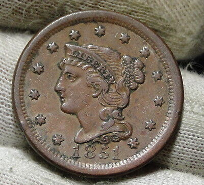 1851 Large Cent, Braided Hair Penny - Nice Coin, Free Shipping  (5928)