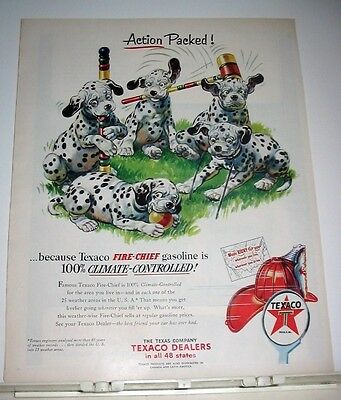 1953 Texaco Fire-Chief Gas Ad 5 Dalmatian Puppies Play Croquet