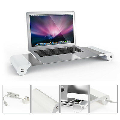 PC Monitor Stand Laptop Computer Support Silver with 4 USB Ports Phone Charge UK