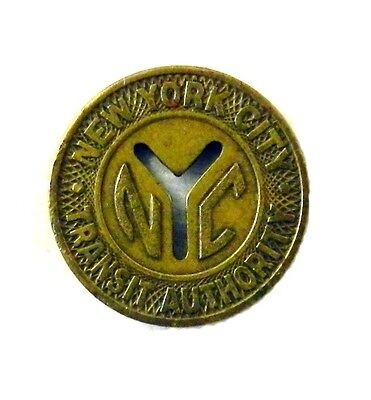 New York City NYC Transit Authority Good For One Fare Token Coin Vintage