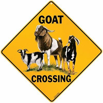 "GOAT Crossing Sign, 12"" on sides, 16"" on diagonal, Indoor/Out-Aluminum"