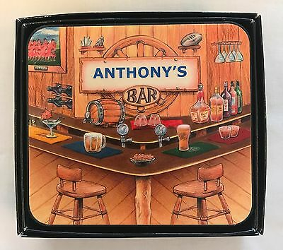 Anthony's Bar Name Set Of 6 Cork Backed Coasters