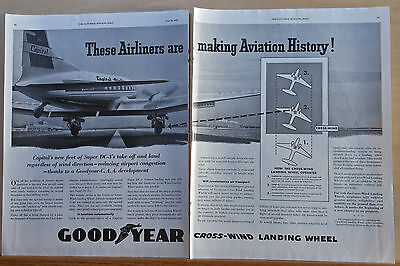 1950 magazine ad for Goodyear - Super DC-3 Cross Wind Landing Wheel, Capital Air