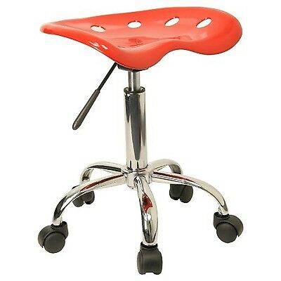 Flash Furniture LF-214A-RED-GG Vibrant Red Tractor Seat and Chrome Stool New