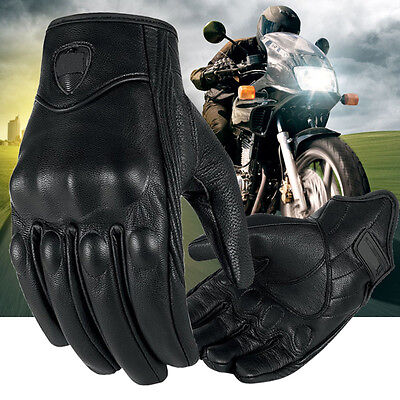 Riding Bike Racing Motorcycle Gloves Protective Armor Short Leather Outdoor NEW