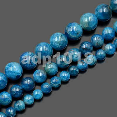 Natural Blue Apatite Gemstone Round Beads Healing Reiki 15.5 Strand 6mm 8mm 10mm