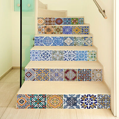 6PCS*100*18CM  Moroccan Tile Sticker Decal Kitchen Bathroom Stairs Mural